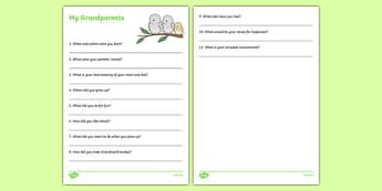 Grandparent Family History Interview Worksheet / Activity Sheet, worksheet