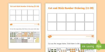 Autumn Themed Cut and Stick Number Ordering Sheets 11-20 - autumn, cut, stick, ordering sheets