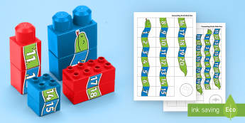 Number Snake to 20 Connecting Bricks Game - EYFS, Early Years, KS1, Connecting Bricks Resources, duplo, lego, plastic bricks, building bricks, j