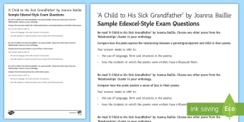 'A Child To His Sick Grandfather' by Joanna Baillie Edexcel Style Sample Exam Questions - Poetry analysis, poetry exploration, GCSE English Literature, GCSE Poetry, poetry anthology, Joanna