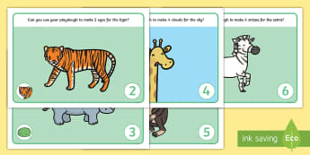 Jungle Animal Number Playdough Mats - Rumble in the Jungle, Giles Andreae, Rainforest, jungle, forest, animals, number, numeral, play doug