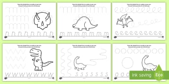 Dinosaur Pencil Control Activity Sheets English/Romanian - EAL dinosaurs, dinosaur pencil control worksheets, dinosaur themed writing worksheets, pencil contro