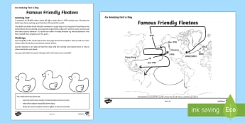 Famous Friendly Floatees Activity Sheet - Amazing Fact Of The Day, activity sheets, powerpoint, starter, morning activity, December, rubber du