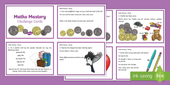 Year 3 Maths Mastery Money  Challenge Cards - ACMNA059, money, australia money, calculate change, problem solving, money problems, count change, m