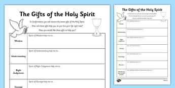 The Gifts of the Holy Spirit Activity Sheet-Irish, worksheet