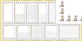 Meerkat Page Border - meerkat, page borders, page, borders, writing, frames