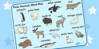 Polar Animals Word Mat - word mat, polar, animals, mat, words