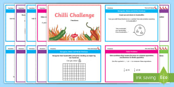 Year 4 Maths Fractions Chilli Challenge Cards - recognise name and write fractions, calculate quantities, equivalence, calculate, compare and order,