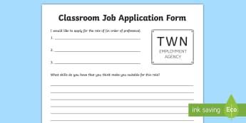 Classroom Jobs Application Form Activity Sheet