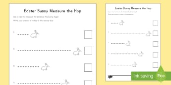 Easter Bunny Measure the Hop Activity Sheet - Easter, Easter math, Easter measuring, using a ruler, measuring in inches