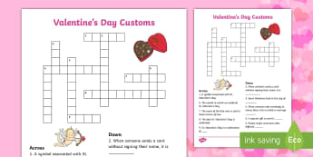 St. Valentine's Day Customs Crossword - Valentine's Day,  Feb 14th, love, cupid, hearts, valentine, Saint, Valentine's, Valentine,