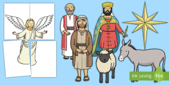 Epiphany Display Cut-Outs - Key Stage One, KS1, Nativity, Three Wise Men, Star, gold, frankincense, Myrrh, Mary, Jesus