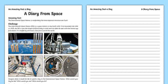 A Diary From Space Worksheet / Activity Sheet, worksheet