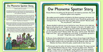 Ow Phoneme Spotter Story - EYFS, Early Years, KS1, Key Stage 1, phonics, Letters and Sounds, dfe, phonemes, alternative spellings, year 1, phase, 5, five