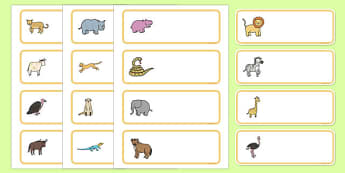 Editable Drawer - Peg - Name Labels (African Animals) - Africa,  peg name, label, animals, lion, cheetah, puma, jaguar, rhino, hippo, elephant, giraffe, antelope