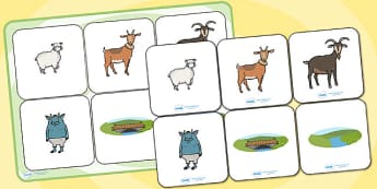Billy Goats Gruff Matching Cards and Board - three billy goats gruff, billy goats gruff matching game, billy goats gruff image matching activity, sen game