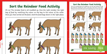 CfE Early Level Reindeer Food Sorting Activity Sheet - Christmas, maths, santa, activity, game, data handling, worksheet