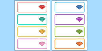 Gemstone Themed Editable Drawer Peg Name Labels - gem, stones, precious, class, labels, signs, name, eyfs, ks1, ks2