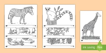 Africa Mindfulness Coloring Activity Sheets - africa, animals, coloring, art, creativity