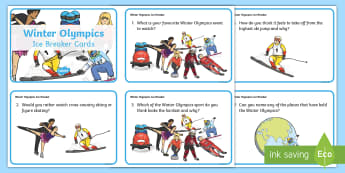 KS1 Winter Olympics Ice Breaker Cards - Questions, Would You Rather, Opinions, Talking, Discussion Prompt