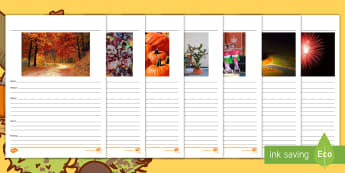 Autumn Picture Prompts Writing Stimulus Worksheet / Activity Sheets-Australia - Celebration, Narrative, creative writing, literacy, prompt, Open ended writing, autumn, leaves, pump