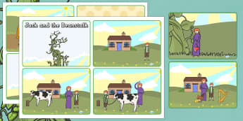 Jack and the Beanstalk Story Sequencing (4 per A4)  - Jack and the Beanstalk, traditional tales, tale, fairy tale, Jack, giant, beanstalk, beans, golden egg, axe, castle, sky