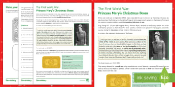First World War Christmas Boxes Activity Sheet - trench, princess mary, christmas box, morale, ww1, christmas, history, presents,tobacco, royal famil