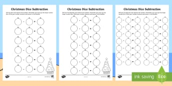 Differentiated Christmas Dice Subtraction Activity Sheets - Maths, Mathematics, Number, Number and Algebra, Christmas, subtraction, subtracting, take away, taki
