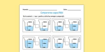 Compară capacitățile vaselor - Fișă matematică