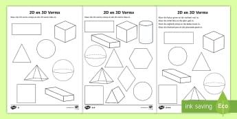 2D en 3D Vorms Inkleur bladsye  - wiskunde, gesyferdheid, vierkant, driehoek, sirkel, ovaal, reghoek.