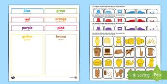 Colour Sorting Activity - English/Romanian - Colour Sorting Activity - colour, sorting, matching, game, puzzle, mathching,Romanian-translation