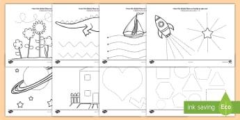 Pencil Control Activity Sheets English/Mandarin Chinese - Pencil Control Worksheet - pencil control, worksheet, sheet, activity, literacy, tracing, rocket shi