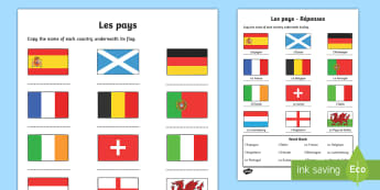 Countries Word and Picture Matching Activity Sheet - French, Countries, KS2, KS1, Flags, Writing, Europe, Travelling, Holidays, Visiting, Foreign, Abroad