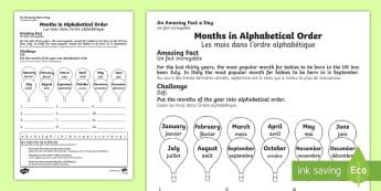 Feuille d'activités : Les mois dans l'ordre alphabétique - Mois, months, year, an, année, cycle 2, writing, écrire, écriture, alphabet, alphabétique, order