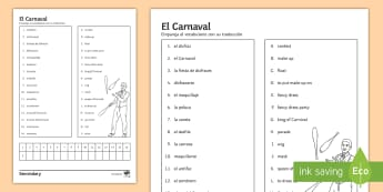 Carnival Matching Activity Sheet Spanish - Celebrations, translation, revision, vocabulary, Match, reading