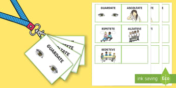 Lanyard Sized Italian Class Management Cards - good behaviour, commands, flash cards, flashcard