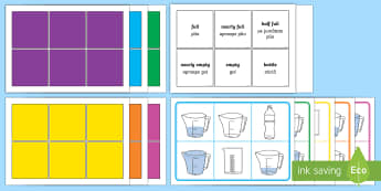 Capacity Words Bingo - English/Romanian - Measurement, capacity, litres, units, non-standard units, measure, volume, EAl