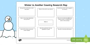 Winter in Another Country Research Map - Seasons, Using the internet, Winter Activities, notes, taking notes,Scottish
