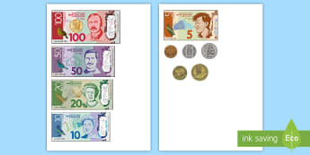 New Zealand Money Cut-Outs - money, cut-outs, coins, notes, nz, new zealand, coins, notes, dollars, ten, five, 10, 5, 20, twenty,