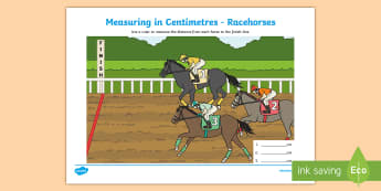 Measuring in Centimetres Racehorses Activity Sheet - Canada - Calgary Stampede - July 8th, math, measure, measuring, cm, centimeters, ruler, canada, calg