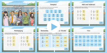 Year 6 Fractions Maths Warm-Up PowerPoint - KS2 Maths warm up powerpoints, warm up, warm-up, warmup, starter, mental starters, Y6, maths, curric, Simplifying Fractions