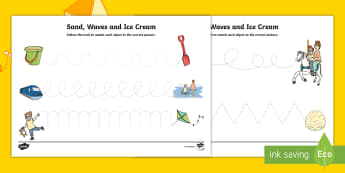 Sand, Waves and Ice Cream Pencil Control Activity Sheets - seaside, aistear, exploring my world, story, funfair, beach, sandcastle, literacy, oral language, fi