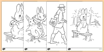Beatrix Potter - The Story of a Fierce Bad Rabbit Colouring Sheets - beatrix potter, fierce, bad, rabbit