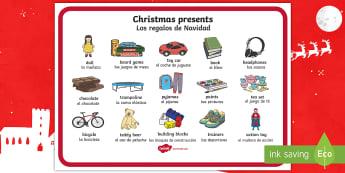 Christmas Presents Word Mat English/Spanish - EAL, Christmas Presents Word Mat - Christmas, xmas, presents, present, writing about christmas, what
