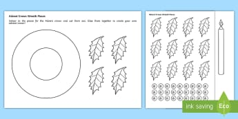Advent Crown Wreath Template Activity - Key Stage One, Christian, Church, Preparation, Celebration, Nativity, Candles, Cut Out, Fun