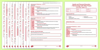New Zealand Health and P.E. Years 0-3 Unit Plan Template - New Zealand, Class Management, planning, health, PE, physical education, plan, template
