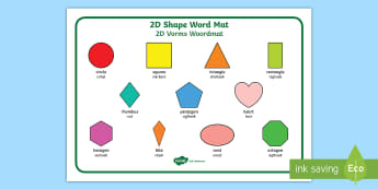 2D Shape Word Mat English/Afrikaans - circle, triangle, square, rectangle, oval, sirkel, math, EAL