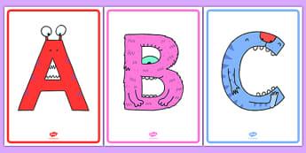 Upper Case Monster Alphabet Display Posters - uppercase, monster, alphabet, display posters, display, posters