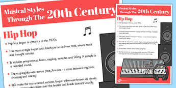 Musical Styles Through the 20th Century: Hip Hop Information Poster