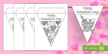 Valentine's Day Mindfulness Heart Display Bunting - Valentine's Day,  Feb 14th, love, cupid, hearts, valentine,